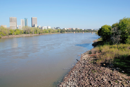 winnipeg: The Red River as it winds its way through downtown Winnipeg Manitoba Canada.