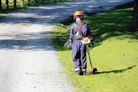 trims: A city employee trims grass. Stock Photo