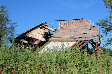 collapsed: The aftermath of a severe storm and a collapsed barn.