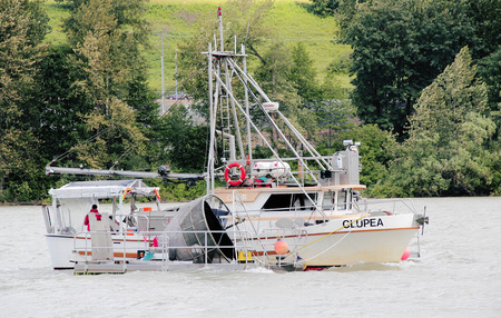 fraser river: A Canadian government Troller is used to assess salmon stock in the Fraser River on June 12 2015.