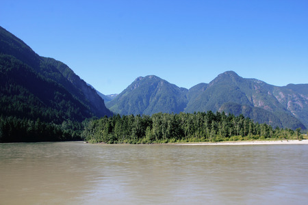 fraser river: The Fraser river in the Fraser Canyon seen near Hope BC Canada.