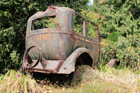 antique car: The body of an antique car from the 1920s is used as a garden ornament.