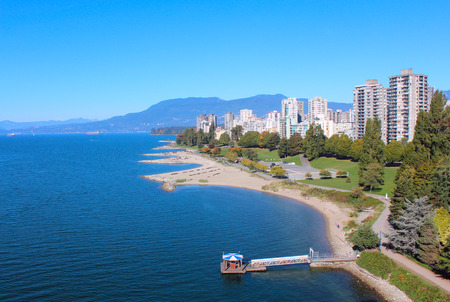 west end: A high angle view of Vancouver, British Columbias west end. Stock Photo