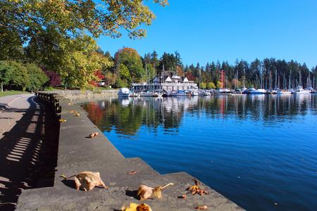 De ingang van het wereldberoemde Stanley Park in Vancouver. Stockfoto