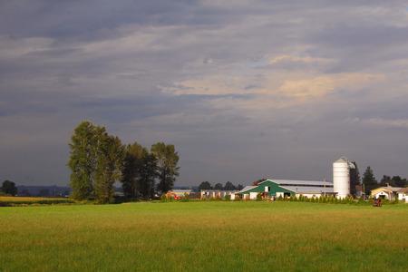 promising: Dark clouds promising rain approach a rural landscape.