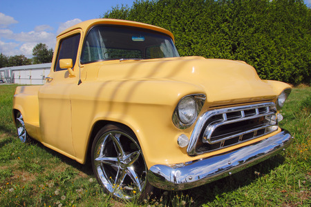 restored: Three quarter profile of  a restored pick up truck from the 1950s. Stock Photo