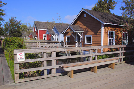 white salmon river: Replicas of simple homes housing Japanese workers in turn of the century canneries.