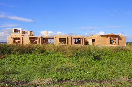 residence: A private residence is constructed in the rural countryside. Stock Photo