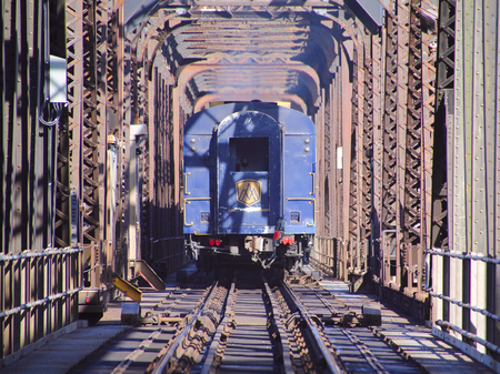 reverse: The Rocky Mountaineer, a tourist train in British Columbia, passes over a scenic swing bridge on September 3, 2015. Editorial