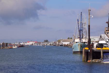 dockside: Looking west on Steveston harbor on Canadas west coast. Stock Photo