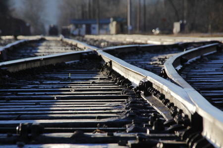 detailed view: Detailed view of two railway tracks joining. Stock Photo