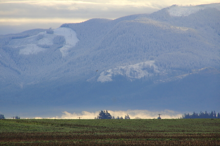 western state: The Sumas mountain range in south western Washington State during the cold, winter months.
