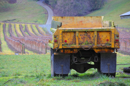 An old truck faces acres of winter raspberry crops.
