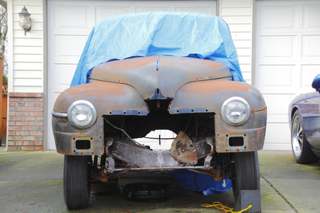 major: A major restoration project on a 1950 American automobile.