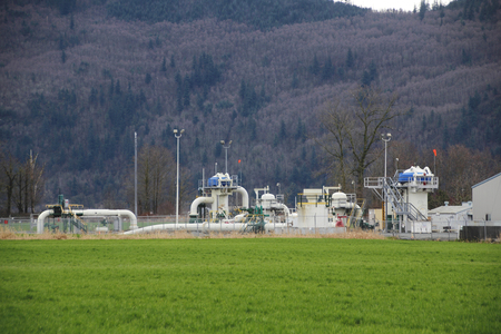 distribute: A gas transmission facility is used to distribute liquefied gas to multiple destinations.