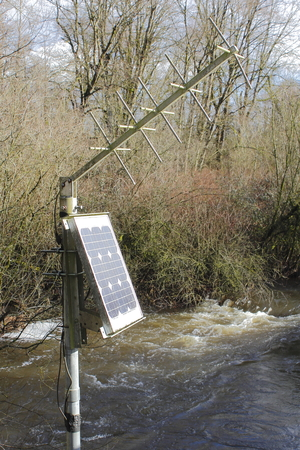 conditions: Special solar powered equipment studies river conditions. Stock Photo