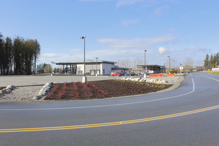 complete crossing: Construction and upgrades are complete for the Aldergrove border crossing in southern British Columbia. Stock Photo
