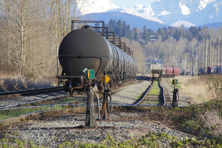 transported: Many rail cars, some carrying bulk fuel, are ready to be transported. Stock Photo