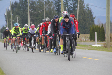 fraser: The pack follows the leader during the Prospera GranFondo cycling competition in the BC Fraser Valley on March 20, 2016.