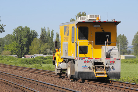 flaw: A state-of-the-art Sperry rail car used to inspect flaws, problems or issues in railway track.