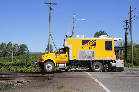 flaws: A state-of-the-art Sperry rail car used to inspect flaws, problems or issues in railway track.