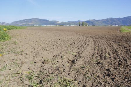 acreage: Springtime and the farm acreage has been plowed and readied for seeding. Stock Photo