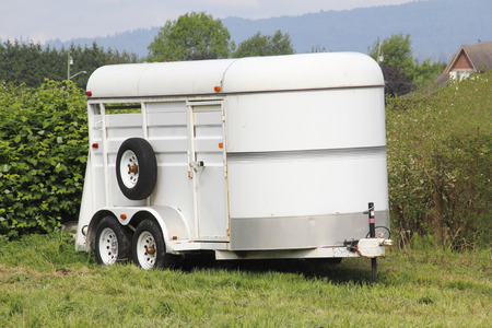 A trailer used for transporting horses. Stock Photo