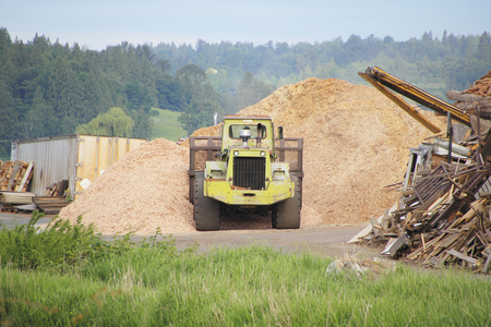 front loader: A large bulldozer adds to a pile comprised of recycled wood products.