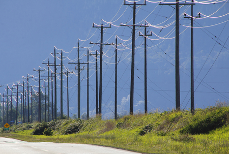telephone poles: Miles of telephone poles and wires stretch across a landscape. Stock Photo