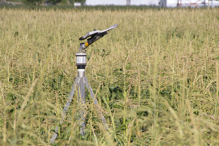 enables: The sprinkler head, sometimes referred to as the gun or nozzle, enables a uniform application of water on the crop.