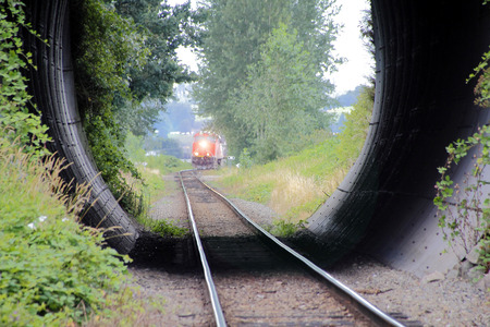approaches: A train approaches a short tunnel under a roadway.