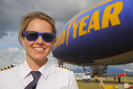 blimp: Pilot Taylor Laverty lands the Good Year Blimp in Abbotsford, BC, Canada on July 8, 2016 before returning to Washington for an extended summer tour.