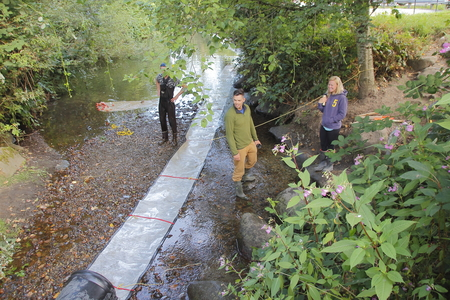 upcoming: A clean-up crew removes debris in a stream near Langley, BC, Canada on August 8, 2016 to prepare for the upcoming wild salmon run.