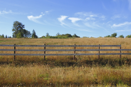 defines: A simple, straight fence defines private rural property.
