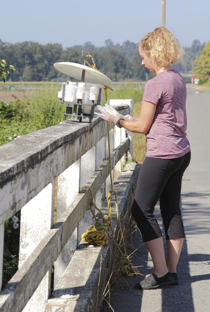 biologist: A biologist with Environment Canada puts on gloves before testing oxygen levels in a local creek near Huntington, BC, Canada on August 16, 2016.