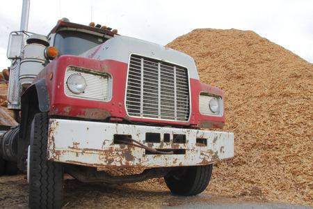 bark mulch: A heavy duty industrial dump truck parked beside a pile of bark mulch.