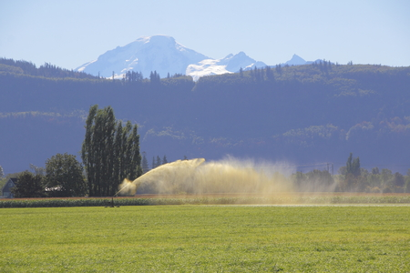 snow capped: Two environmental extremes as liquid manure is spread on a field in front of a snow capped mountain.