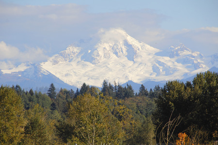 western state: Mount Baker in western Washington State and a heavy snow-pack.