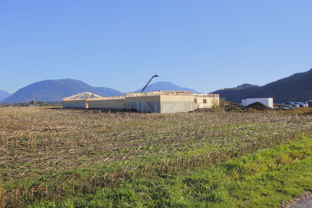 A major farm investment as a new poultry building is under construction.