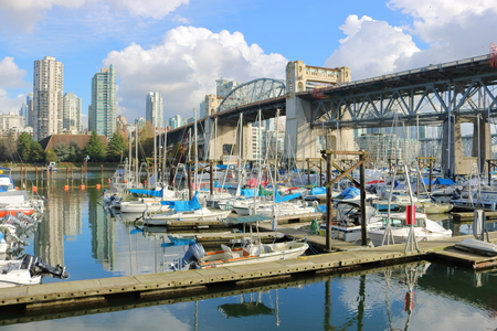 The Burrard Street Bridge spans False Creek and a large marina in Vancouver on November 14, 2016. Editorial