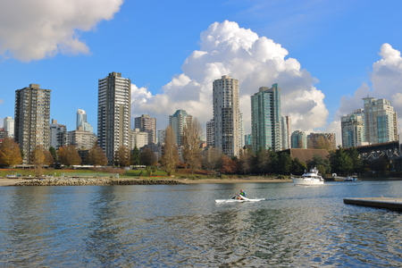 Various boats leave False Creek in Vancouver, Canada on their way to English Bay on November 14, 2016. Editorial