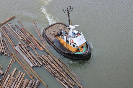 High angle view of a tug boat corralling and guiding a log boom on the river.