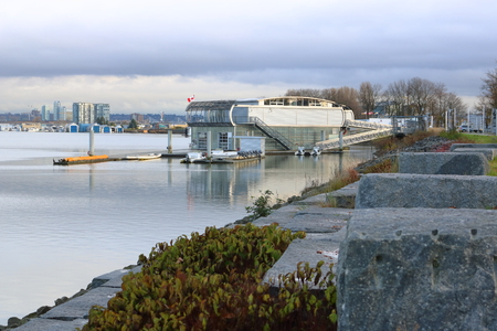 The John M.S. Lecky UBC Boathouse, seen on November 23, 2016, is a floating facility in Richmond, BC that provides events along the banks of the Fraser River.