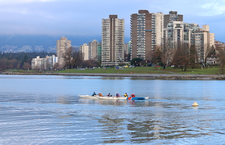 Members of the False Creek Racing Club train in Vancouvers English Bay on November 28, 2016.