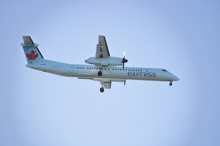 Jazz operates flights in partnership with Air Canada under the brand name Air Canada Express, seen here approaching Vancouver International airport on December 4, 2016.