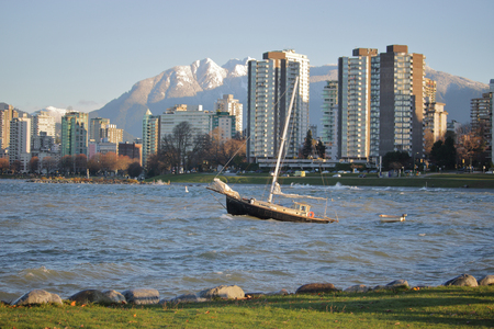 choppy: Snow capped mountains and choppy water describe a sunny winters day in Vancouver, BC, Canada. Editorial