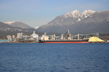 The Ken Shin, a bulk carrier freighter is anchored  in Vancouvers north shore on December 16, 2016.