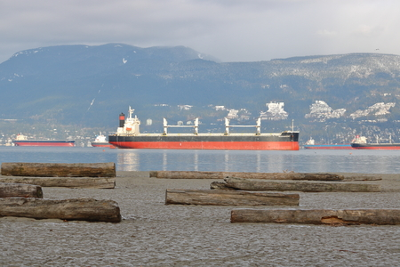 Ocean Destiny, a freighter registered with the Marshall Islands, is anchored in Vancouvers English Bay waiting to unload cargo on December 17, 2016. Editorial