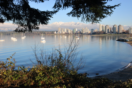 Looking north from Kitsilano across English Bay to downtown Vancouver.