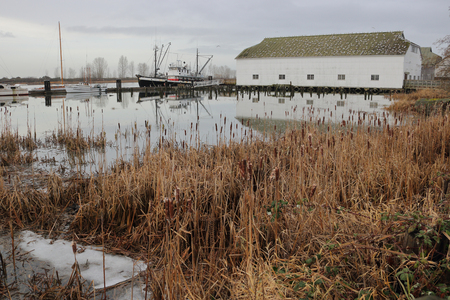 britannia: The Britannia Shipyard, a historical site in Richmond, BC, Canada during the winter months on December 21, 2016.